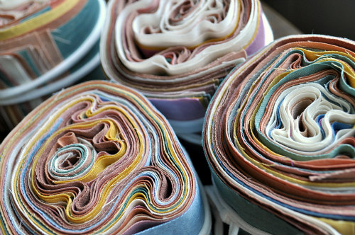 Fabric bundles (reminiscent of Geodes) for the Squam Art Fair, June 4th!