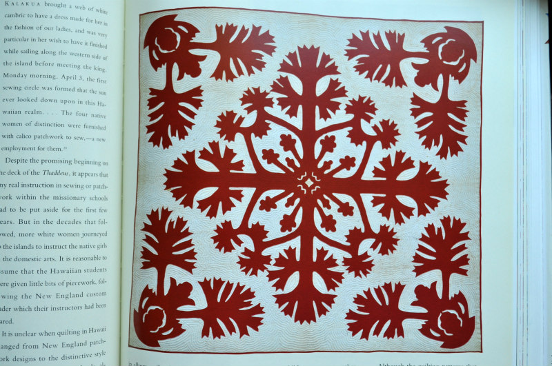 "Hawaiian Quilts make me weak in the knees. They're always stunning, and they certainly speak to my love of paper cutting. What I'm most curious to try is echo hand quilting. So beautiful. Unnamed pattern, c. 1940, Hawaii; cottons, appliqued, 81"" x 85"". Robert and Ardis James Collection."