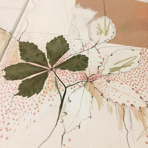 "A beauty from Kerry Lemon's sketch book, 2016, incorporating a 5"" square of naturally dyed fabric. The dots are made with Kerry's own handmade botanical paint."