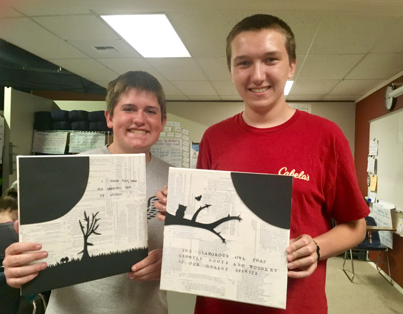 Proud faces. Months of work. Meaningful art. Nice work, Loch and Caleb!