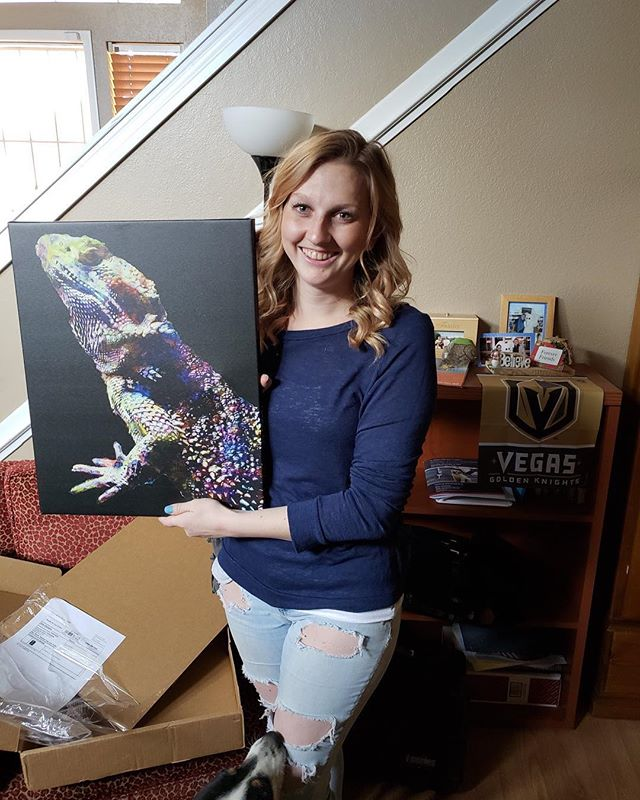 """This one was a first for us! Samuel H. surprised his girlfriend with a print of their lizard for her birthday. """"You would not believe what a personality and ATTITUDE and little lizard can have!! Elizardbeth Taylor is her name, and I did not think that I could love a lizard but damn is she awesome!"""""""