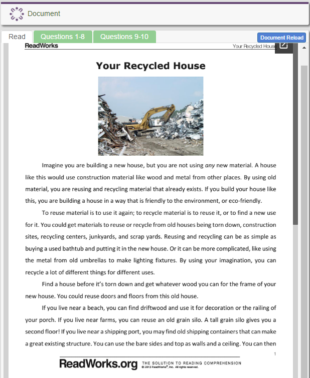 Your Recycled House (Earth Day)