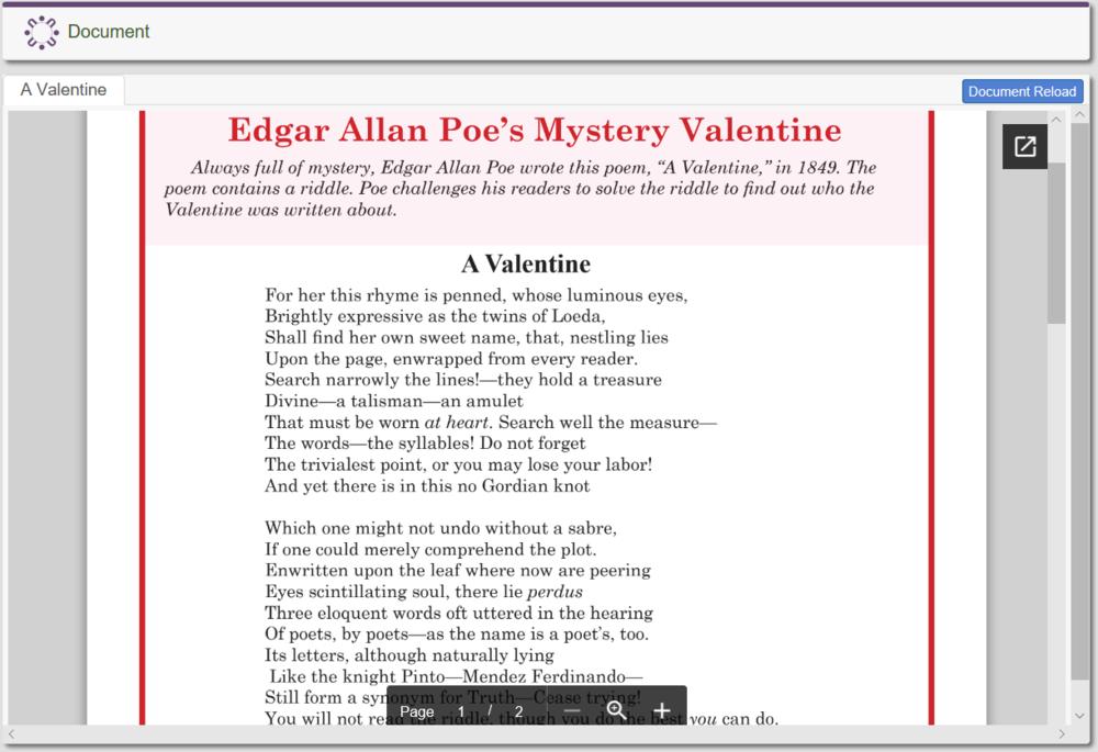 Edgar Allan Poe's Mystery Valentine