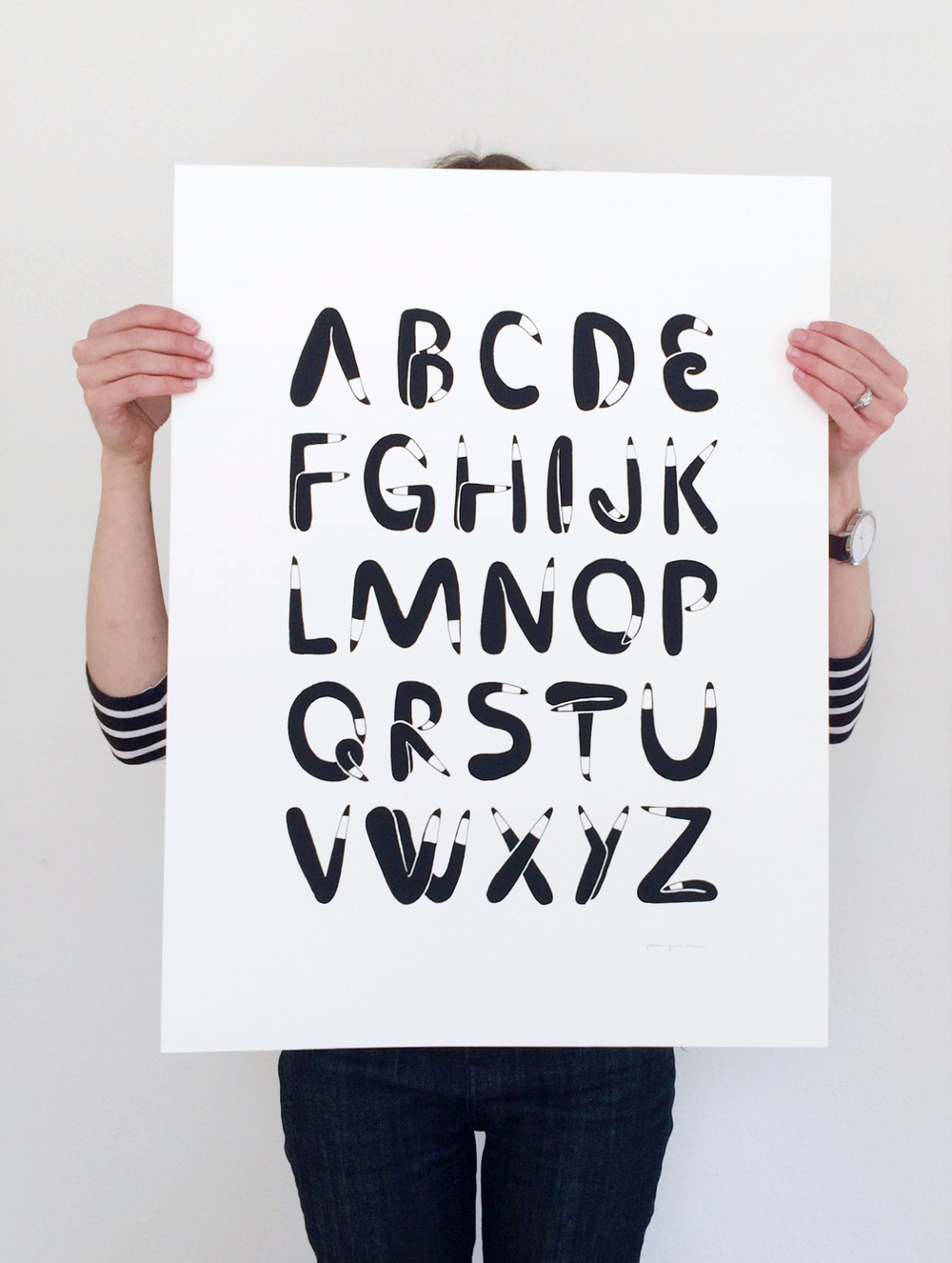 Leggy alphabet screenprint. Available  here.