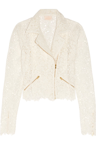 Modern bride white lace biker jacket for wedding day
