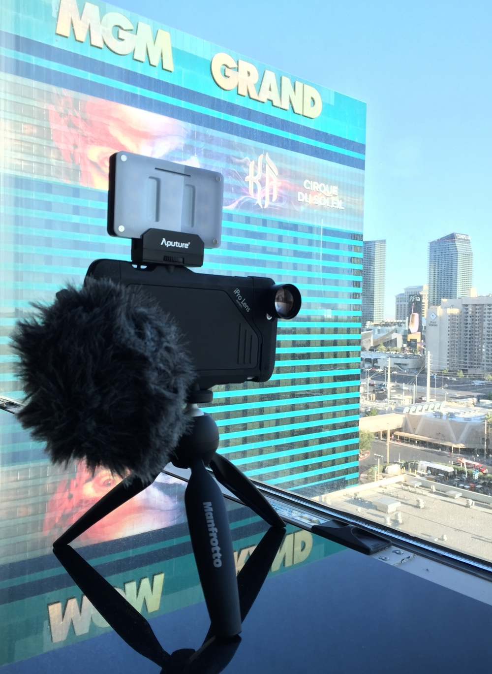 Apple iPhone 6s+, iPro case, iPro 2x lens, Manfrotto Pixi mini-tripod, RØDE Videomic Me, Las Vegas NAB 2016