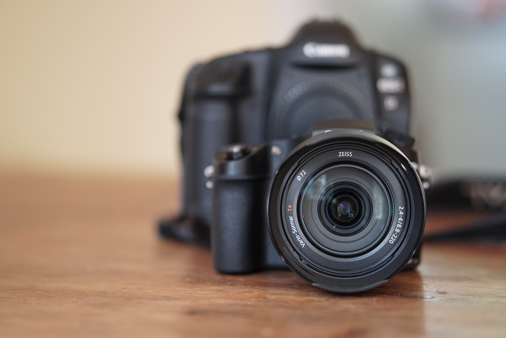 The  RX10 Mark III  feels big next to the  a6300 , but downright petite compared to a Canon 1D.