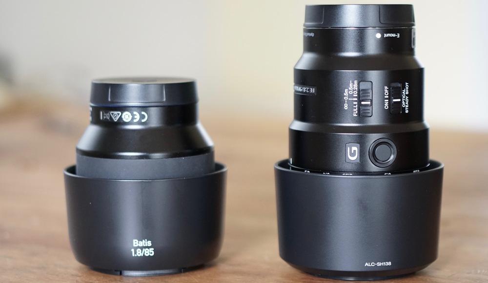 Zeiss Batis 85mm f/1.8 on left, Sony FE 90mm f/2.8 Macro G OSS on right. Both are stellar.