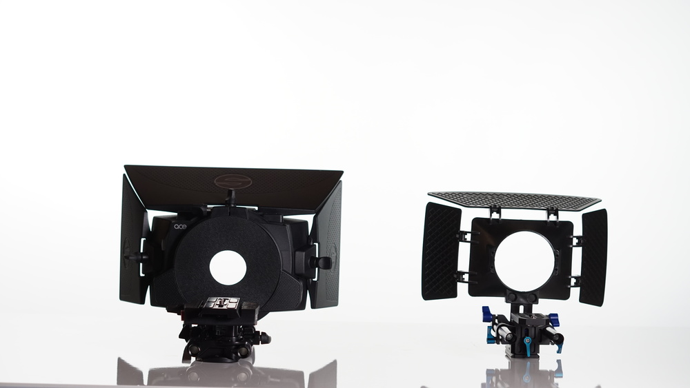 On the left: Sachtler Ace Matte Box with Sachtler Ace Baseplate. On the right: Neewer Matte Box with Neewer DP500 15mm rod kit.
