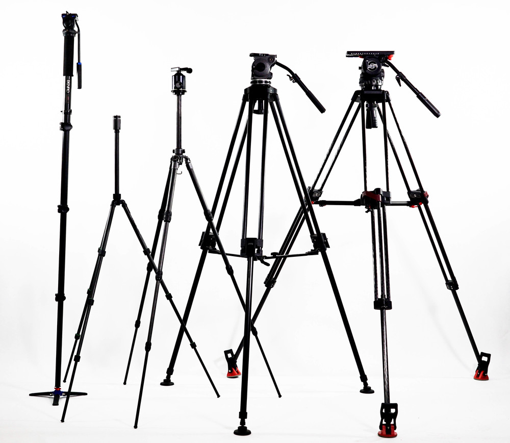 From left to right: Benro A48FD monopod with S2 head (well under $200 for the pair), old Cullman aluminum tripod with integrated mini ball head (closest thing to it still in production is probably the $80 Cullman Nanomax with Ball Head), Gitzo G1128 Mk II Carbon Fiber tripod (closest thing to it in current production is the GT2542 Mountaineer at $869) with Arca-Swiss Monoball Head ($320 at B&H), Sachtler Video 18 S2 atop Sachtler Speed Lock CF (100) legs, (set for $8,010 at B&H). I use the Gitzo/Arca-Swiss and/or Cartoni Focus to shoot most of my reviews or out in the field and the Benro when covering live events. I recently handed down the Cullman -- super light-weight and compact, perfect for iphoneography -- to one of my children.