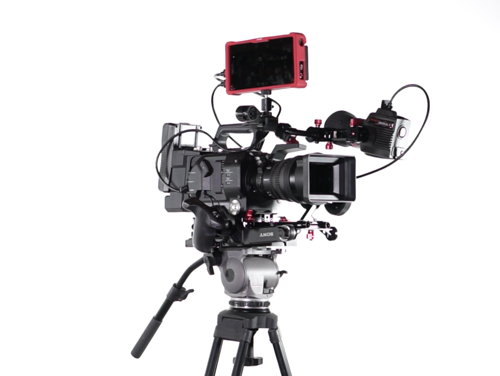 Sony FS7 with FE PZ 28-135 f/4, Atomos Ninja Assassin, Zacuto Gratical HD, Zacuto VCT Universal Base Plate and Tripod Plate, edelkrone FOCUS OnePRO, Sony XDCA-FS& Extension Unit with V-mount battery, all mounted on Cartoni HD Fluid Head and Tripod