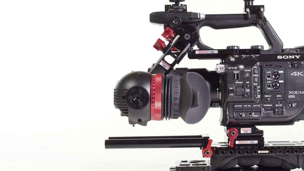 The combination of the FS5 top plate, Axis Mini EVF Mount and Gratical Eye really extend the scenarios in which the FS5 can be used on the shoulder. The only fly in the ointment is that I couldn't find the right balance with this particular set-up when also using a matte box and follow focus -- I needed Zacuto's not-yet-released update to the VCT base plate with sliding deck.