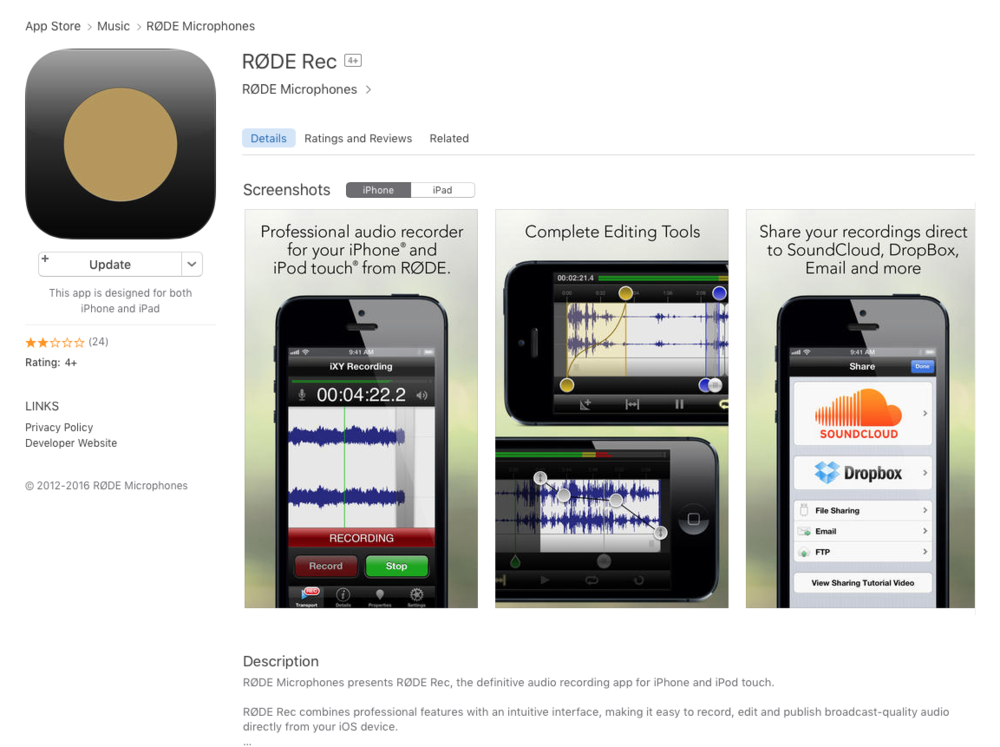 I've used RØDE Rec since I bought my first smartLav. It works well. Zoom, among others, makes a similar app.