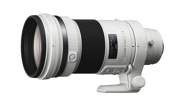"Sony's 300mm f/2.8 G II is petite by comparison at 9 1/2"" long and a shade under 5 pounds, but it doesn't have IS. Then again, it will only set you back $7,500 or so. It can also use the LAEA4 adapter."