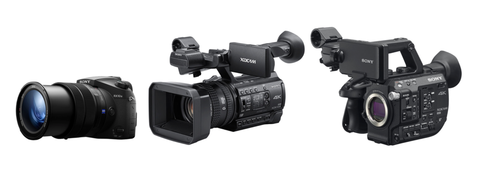 From left to right: Sony RX 10 Mk III with built-in zoom (24-600mm full frame equivalent), $1,498  [ B&H | Amazon ] ; Sony Z150 with built-in zoom (29mm-348mm full frame equivalent), $3,299  [ B&H | Amazon ] Sony FS5 interchangeable lens with Super35 sensor, same as the one found in the FS7,  [ B&H | Amazon ]