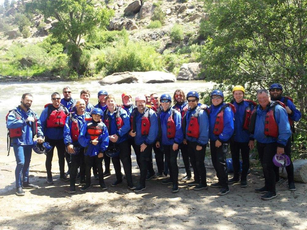 "2016 PaulAnn Church ""Man Camp"" group whitewater rafting in Salida, CO"