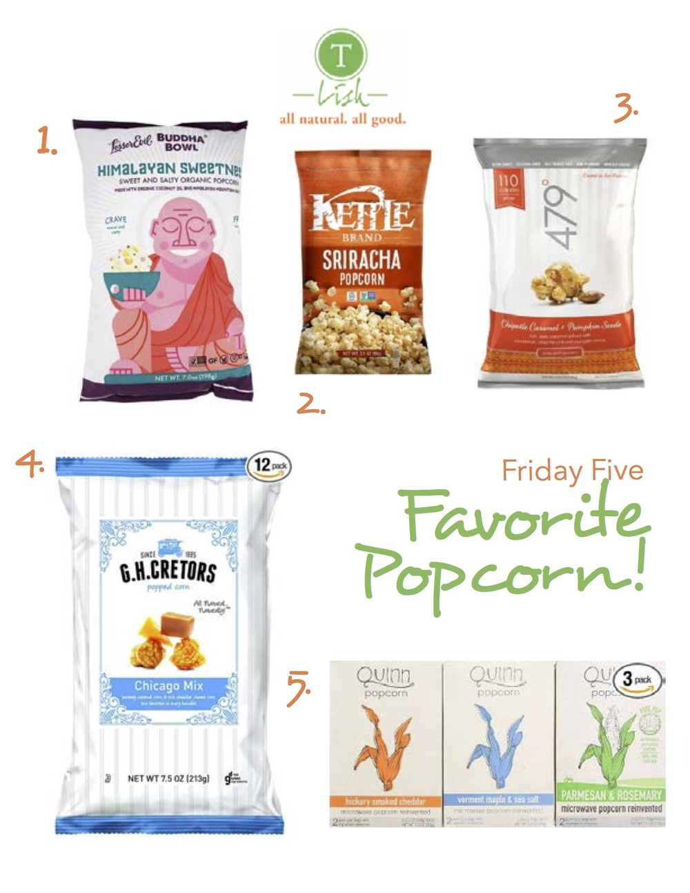 1. Budda Bowl Organic Popcorn Himalayan Sweetness: Himalayan Pink Salt and pure sugar cane give this popcorn the perfect balance between salty and sweet. Lesser Evil also uses organic coconut oil when making their products 2. Kettle Foods Popcorn Sriracha: Everything I love about hot sauce but on popcorn, making this the perfect guilt free snack! 3. 479 Degrees Chipotle Caramel + Pumpkin Seeds: You may be thinking this is too many flavors thrown into one bag but it's surprisingly delicious. I love it as a snack in the fall and winter months. 4. G.H. Cretors Popcorn Chicago Mix: This stuff is ridiculous! You can't eat one handful. It's one of my guilty pleasures. I've been known to pack this in my suitcase.  5. Quinn Popcorn: Microwave Popcorn Reinvented: I couldn't resist since one of my sweet son's is named Quinn. This is microwave popcorn reinvented! My fave is the Rosemary and Parmesan.