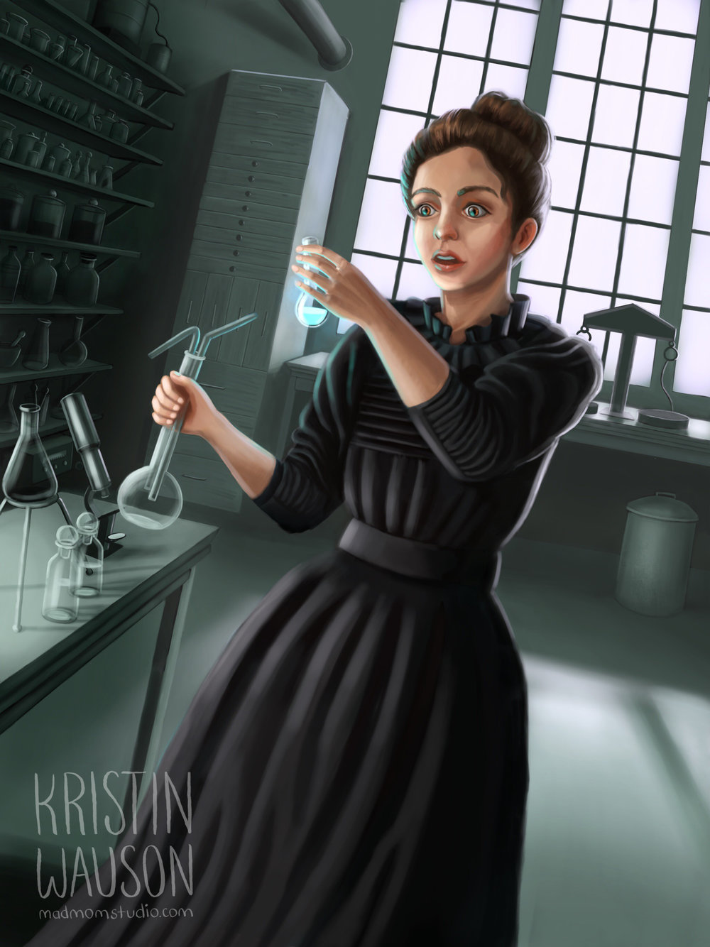 My final illustration of Marie Curie after researching.