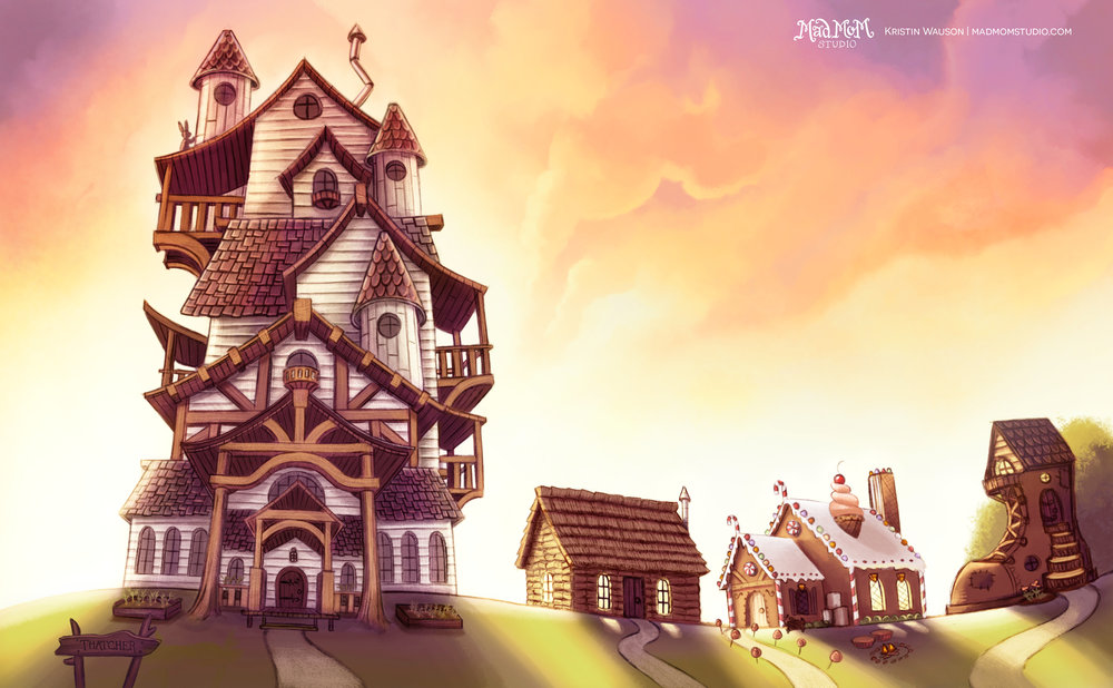 After the revision. I added the fairytale houses to give foreshadowing to what was going to happen later in the story.