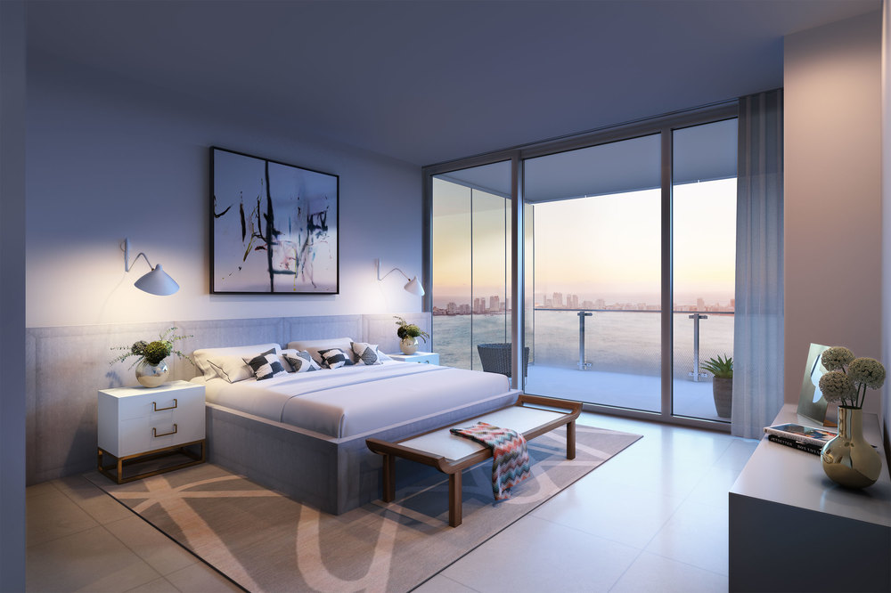 Rendering of a residence's interior at Missoni Baia