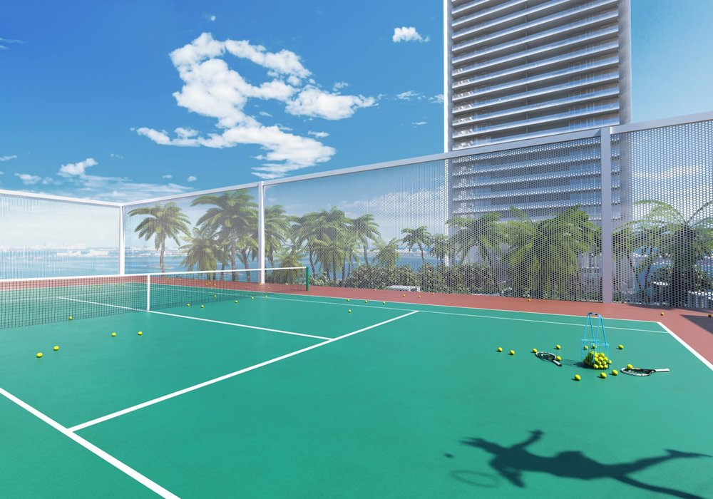 Rendering of the tennis court at Missoni Baia