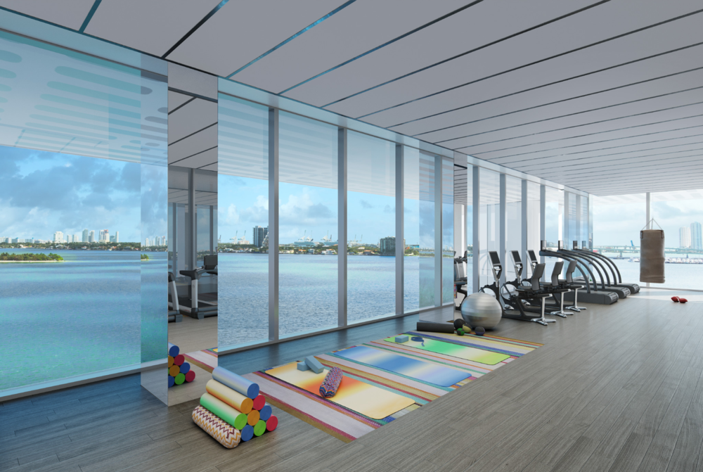 Missoni Baia Miami Residences Gym overlooking Biscayne Bay