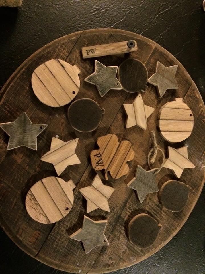 barrel wood orniments
