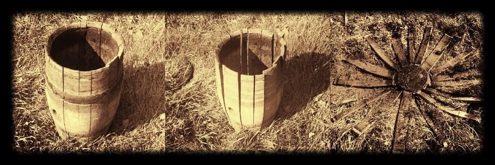 Vintage early 1900s oak barrel found in a wine cellar in Massachusetts.