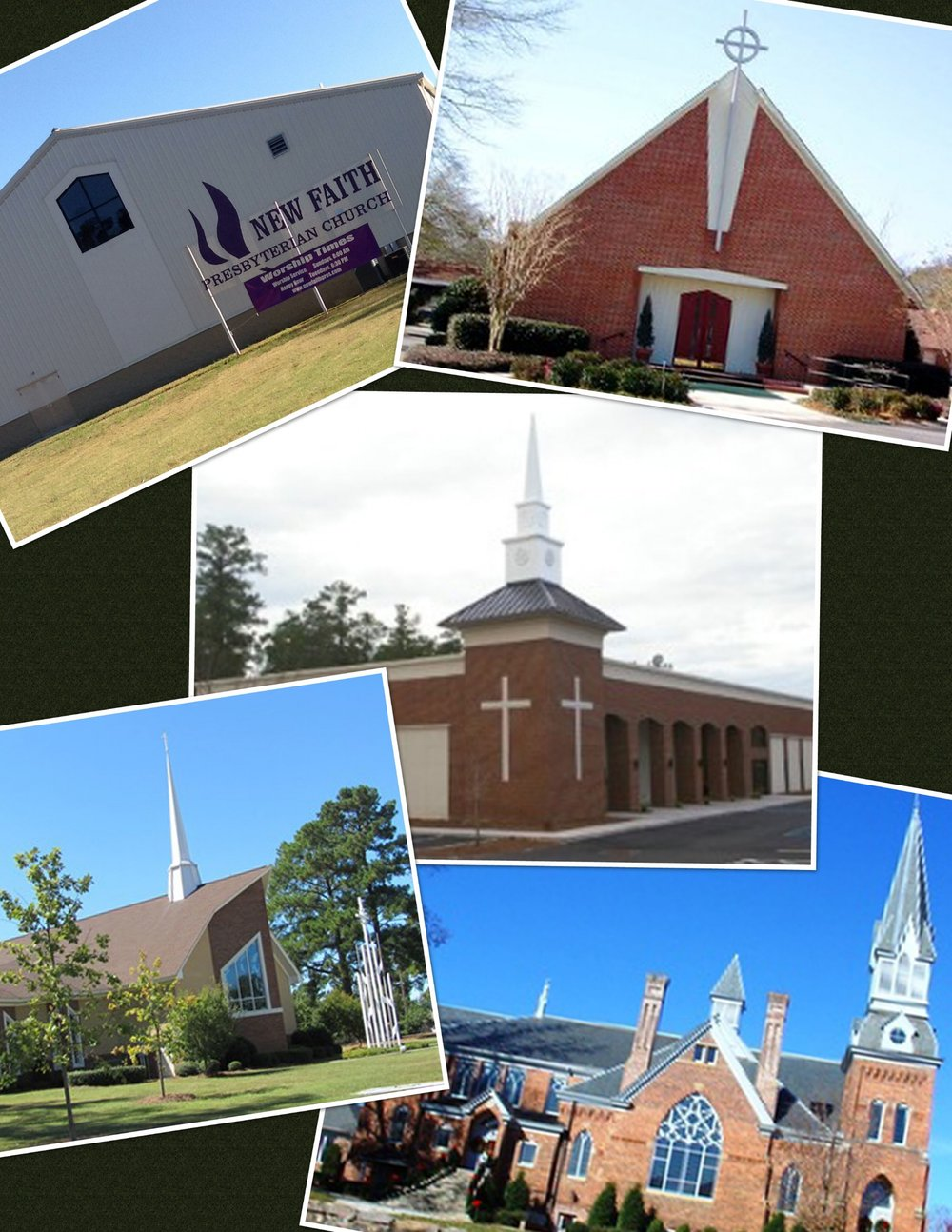 First Presbyterian Church - Laurens New Kirk Presbyterian Church, Blythewood McGregor Presbyterian Church, Irmo South Aiken Presbyterian Church, Aiken New Faith Presbyterian Church, Greenwood