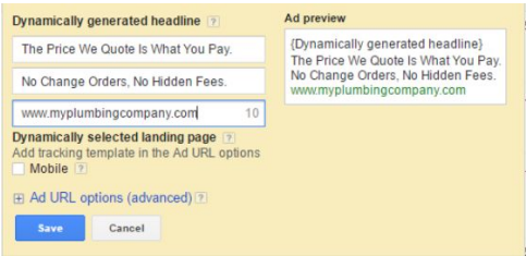 Creating a Dynamic Search Ad in AdWords Interface