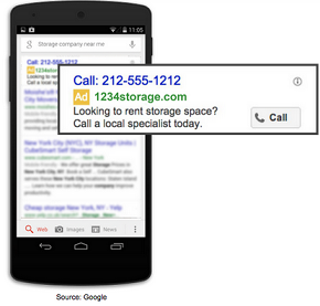 A standard text ad example on a mobile smartphone device with a call extension