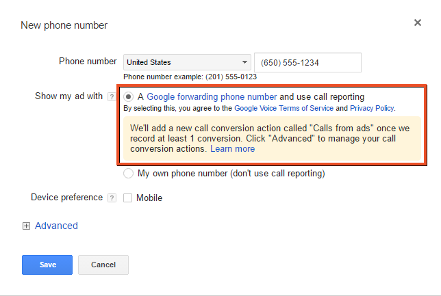 Call extension setup selecting a google forwarding phone number option