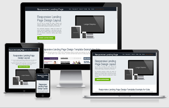 Quality example of a responsive landing page on desktop, tablet and mobile devices