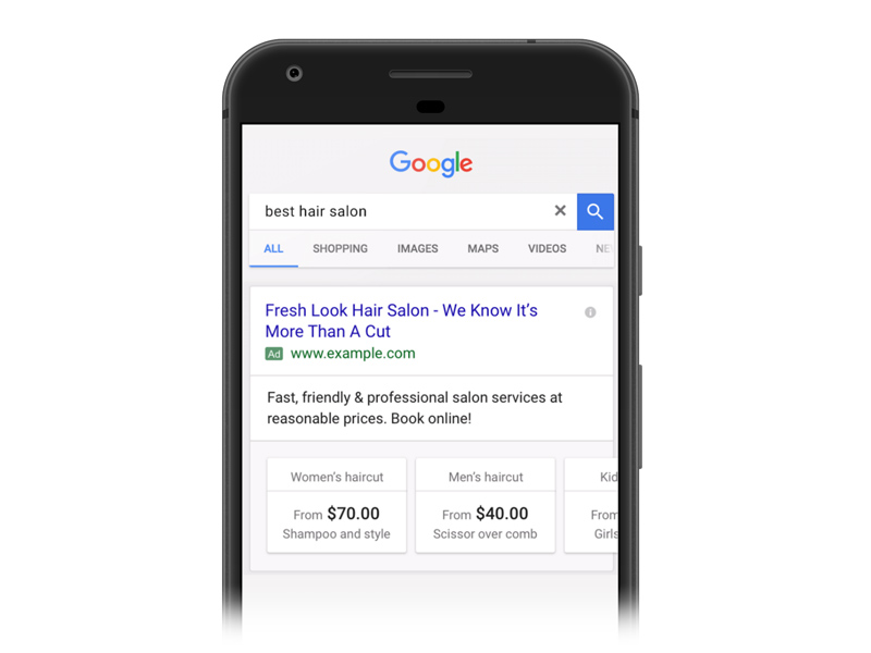 Example of a Price Extension in Mobile Search Results