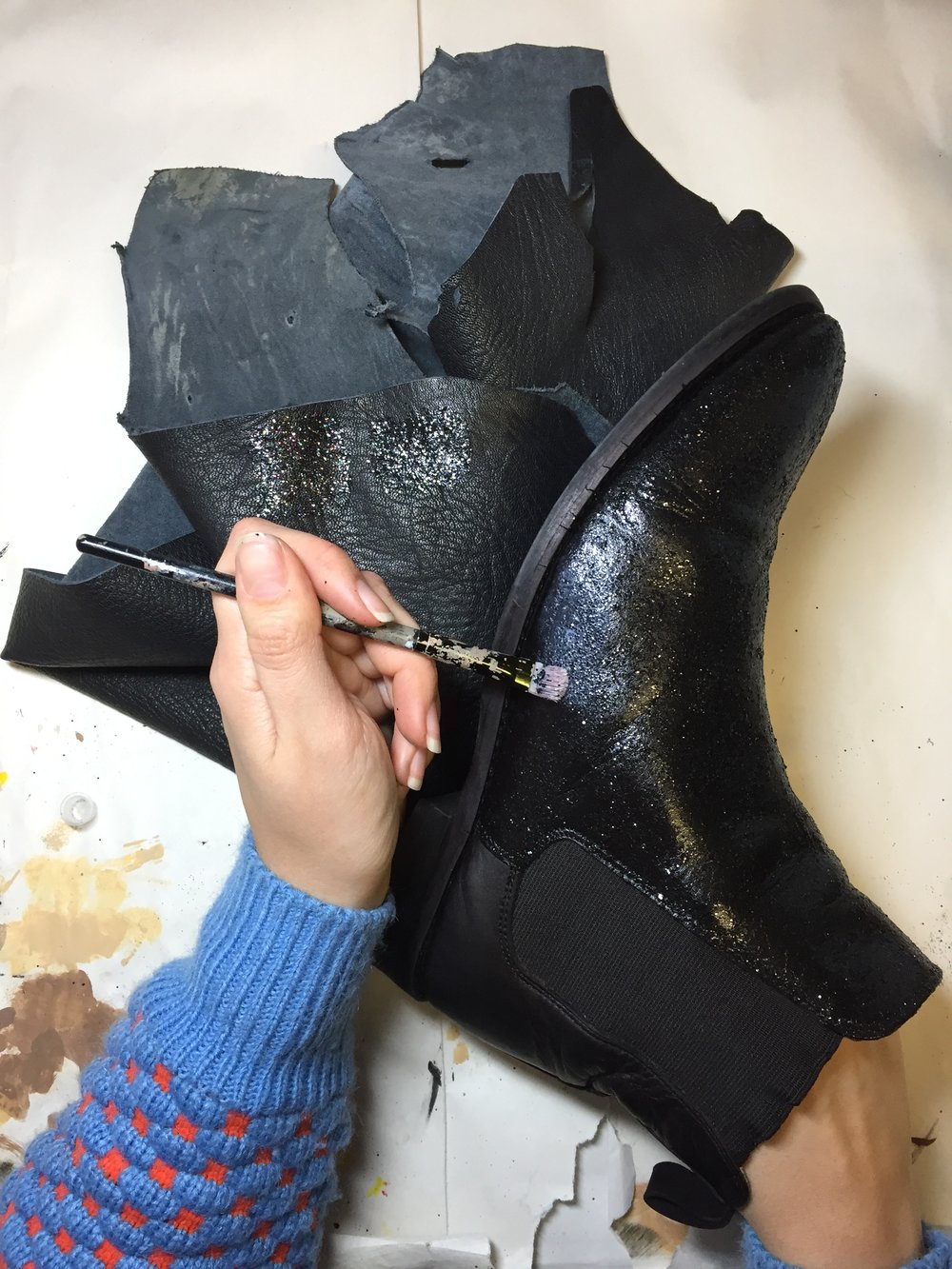 painting glitter boots