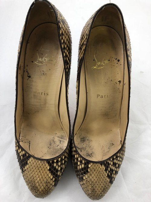 Before picture:worn Louboutin python leather