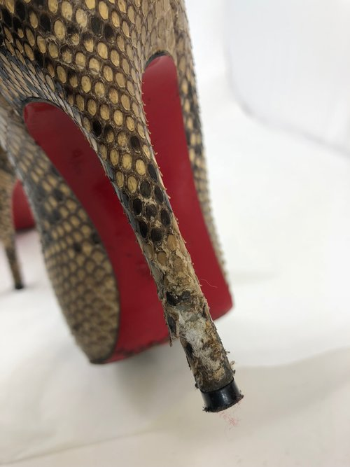 Before picture: scuffed Louboutin heels