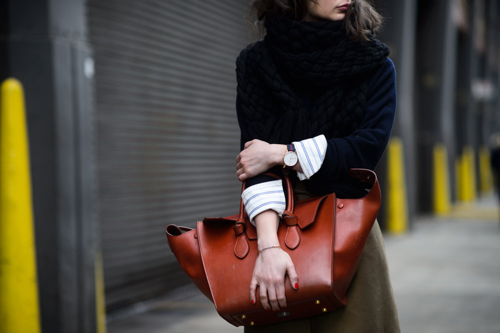 MINT Journal Founder Irina Lakicevic with her Céline Tie Tote Bag.  Image: Adam Katz Sinding