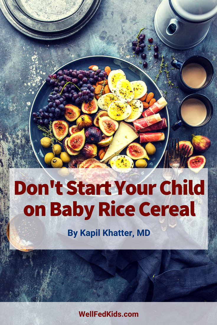 You might assume baby rice cereal is the ideal way to start your child on solid food, but it's not. Baby rice cereal is not the best way to start your child's eating experience. There are lots of foods that are better. Want to know why it's best to just avoid rice cereal? Find out more about the reasons baby rice cereal is not that ideal first food when it's time to start solid food. And what you should start with instead. #rice #baby #healthyfood #wellfedkids