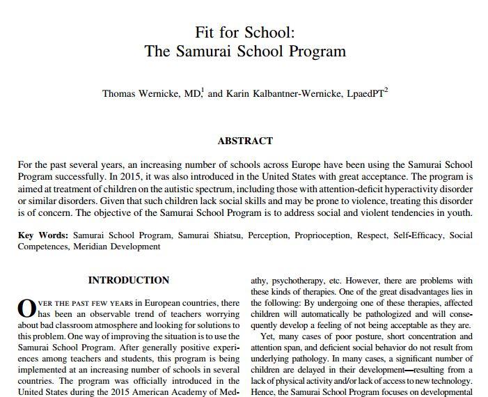 Read this research article on the effectiveness of Samurai-Shiatsu