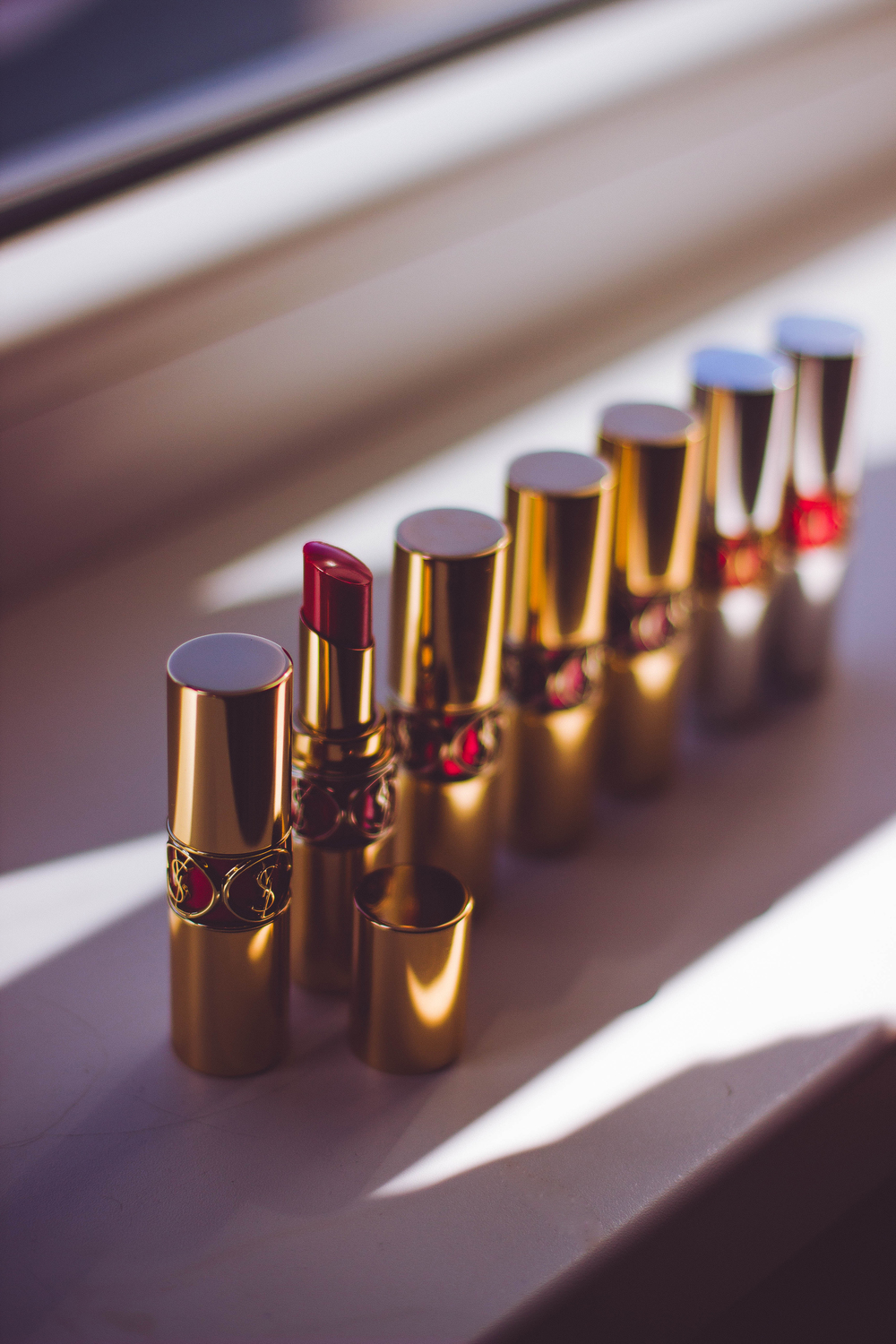 row of lip colors