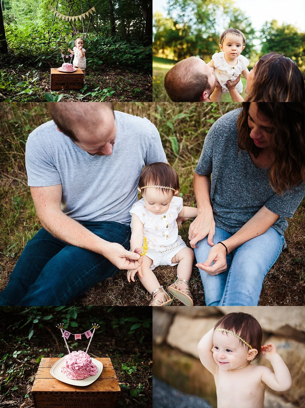 Sugarcreek Ohio Family Photography, A one year birthday cake smash and woodsy family session