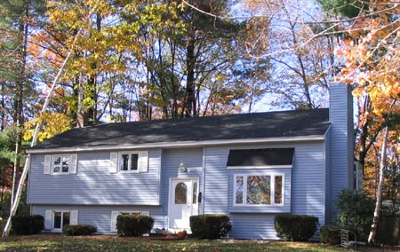 This split-foyer home received a new and improved exterior with new siding.