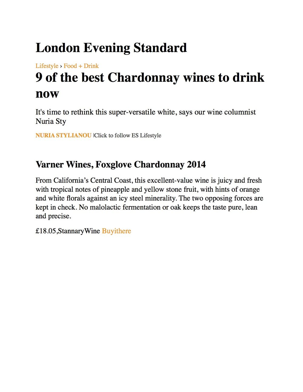 2014 Foxglove Chardonnay - London Evening Standard.jpg