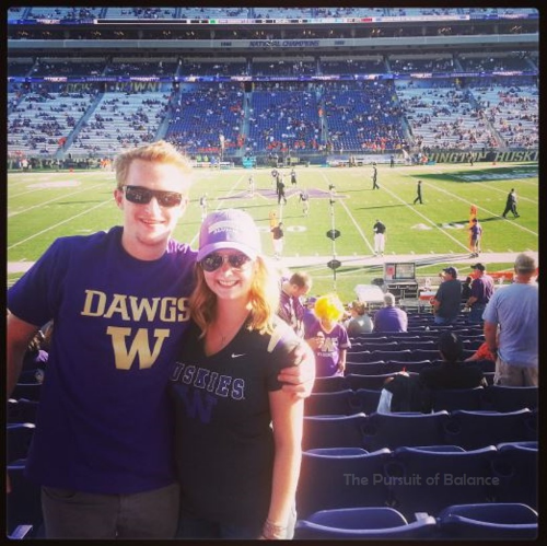 At one of our many UW Husky Games - and our awesome season ticket seats, miss them!