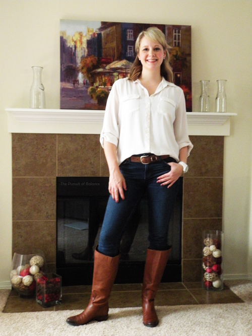 Blouse The Loft for $14, jeans Stitch Fix, boots Sam Edelmen from Nordy's