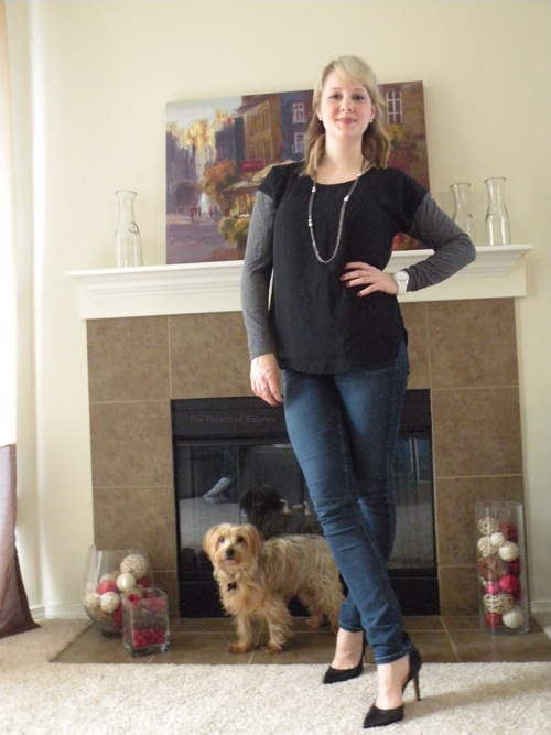 Sweater Ann Taylor online, jeans Stitch Fix, heels Jessica Simpson (Oliver needed some attention)