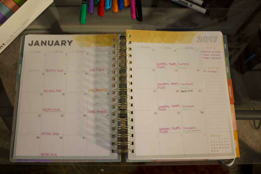 InkWELL Press Month at a Glance Planner Page