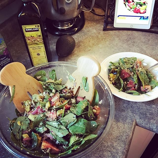 Already using some of our bridal shower/wedding gifts to *literally* mix up some healthy meals! I love a good strawberry salad on a warm day!! And these salad hands were amazing for mixing all the delicate ingredients like avocado and spinach. . . . . #strawberry #strawberrysalad #salad #lunch #avocado #saladhands #food #foods #foodpic #foodpics #foodie #foodblog #foodblogger #foodporn #foodstagram #health #healthy #healthyfood #healthylife #healthylunch #healthychoices #healthyeating #heathyrecipes #healthylifestyle