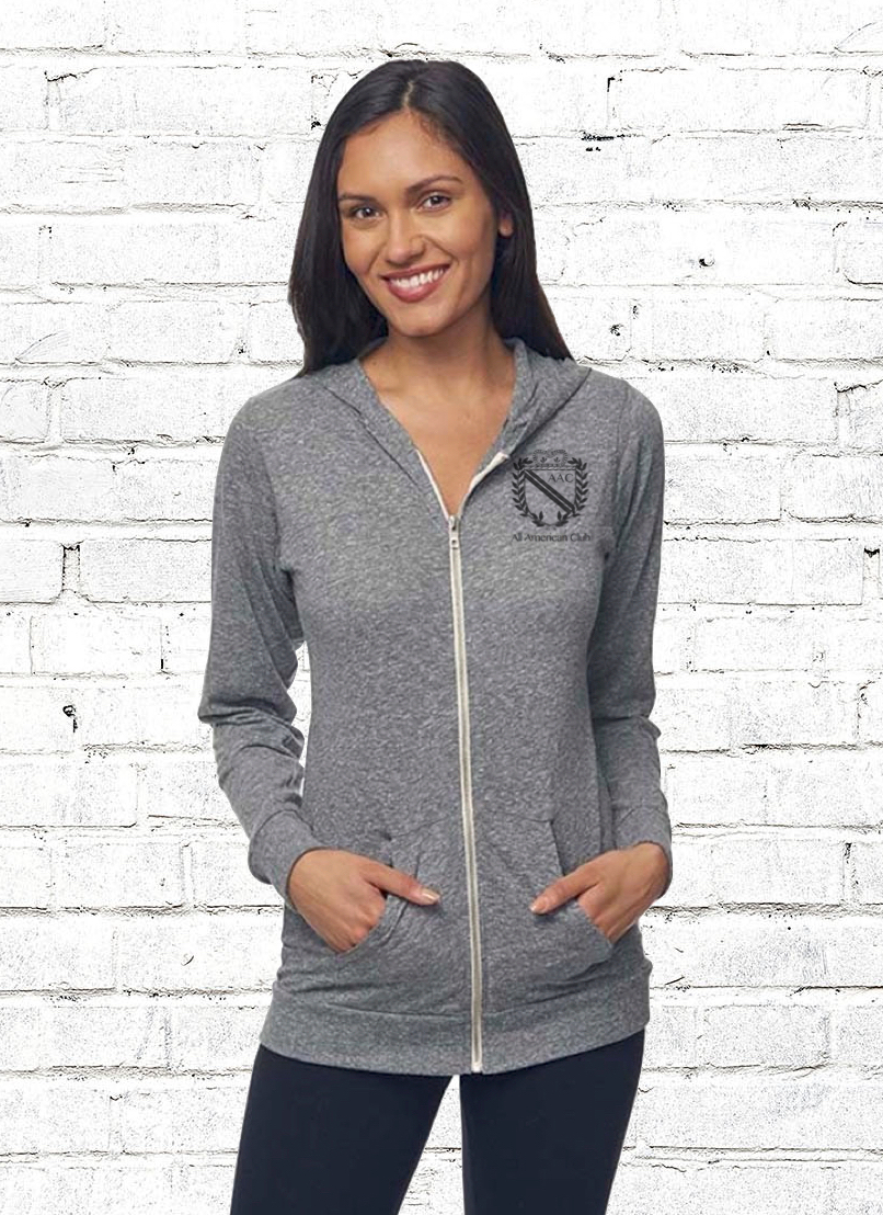 AAC Jersey Hoody - $50.00Our Essential light weight full zip hoody made with our Eco tri-blend jersey. Eco Friendly, sustainable and proudly made in America (made from post consumer plastic bottles). It will be your favorite sweatshirt.Metal Zipper.Kangaroo Pocket.Rib Sleeve Cuffs & Bottom Band.Single-Layer Hoodie.Unisex Classic fit.Available in: Heathered Grey.FABRIC: 50% RPET polyester, 37% Organic cotton, 13% rayon. 4.5 ozMade in the USA.BUY NOW
